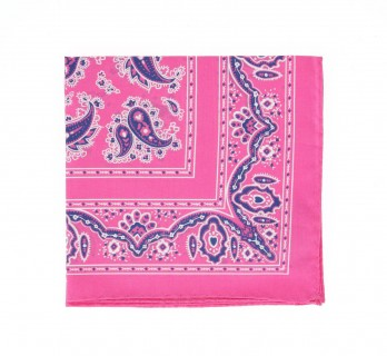 Pink Paisley Pattern Cotton Pocket Square - Cachemire