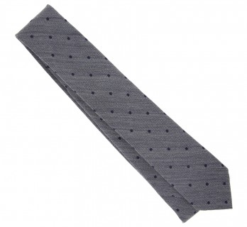 Grey with Navy Blue Dots The Nines Tie - Bari II