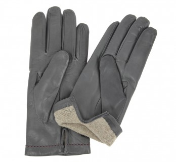 Grey leather gloves with read stiches - LIN