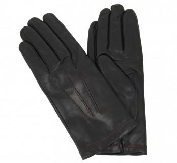 Black leather gloves with coral stiches - AVN