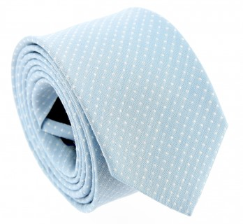Light Blue Basket Weave Linen and Silk Tie with Polka Dots - Gaeta