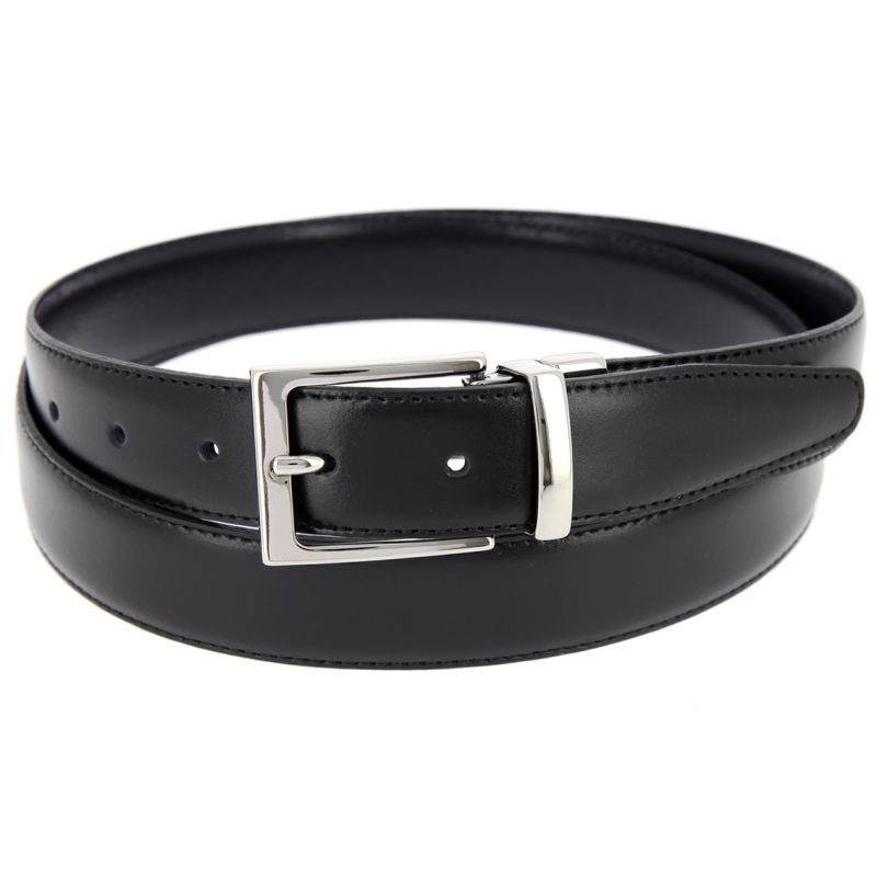 THE NINES FINE REVERSIBLE BLACK AND NAVY BLUE BELT - RIGHT ANGLED BUCKLE