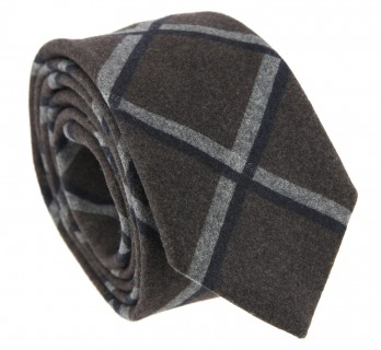 Brown Wool The Nines Tie with Square Patterns