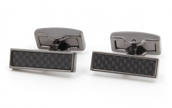 Boutons de manchette rectangulaires carbone gunmetal - Michigan