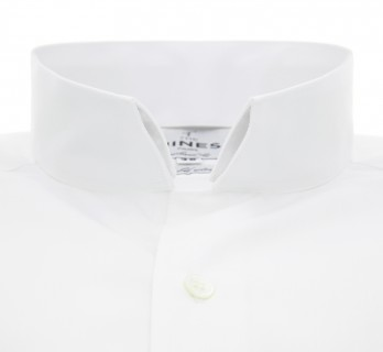 White reverse collar French cuff shirt Slim-fit