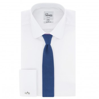 Steel blue Knitted Cotton The Nines Reversible Tie - Avola