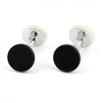 Round onyx and mother of Pearl cufflinks - Nikkō