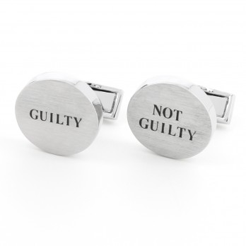 Boutons de manchette argent brossé Guilty/Not guilty - Courthouse