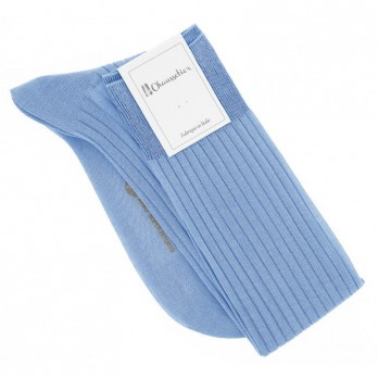 Light blue cotton lisle knee socks fine ribbed