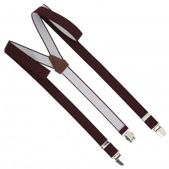 Burgundy flexible suspenders with white patterns - The Nines