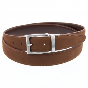 Reversible brown belt in leather and nubuck - Clint