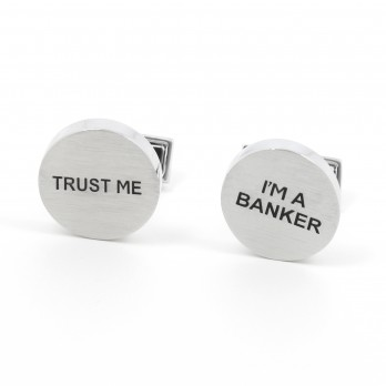 Brushed silver cufflinks - Trust Me I'm a Banker