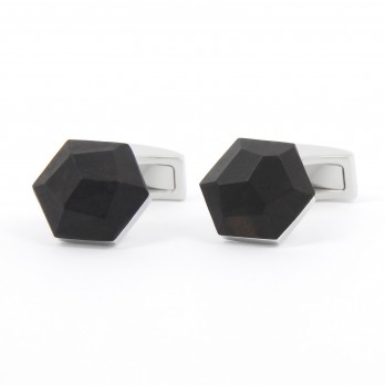 Faceted Black Walnut Wood Cufflinks - Gamla Stan