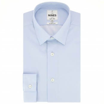 Light blue Japanese collar shirt in twill slim fit