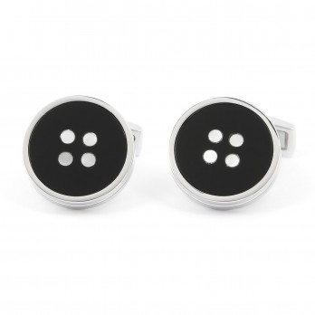 Onyx and Mother-of-pearl Button Sterling Silver cufflinks - Baltimore