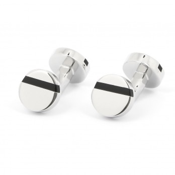 Round black onyx cufflinks - Madrid