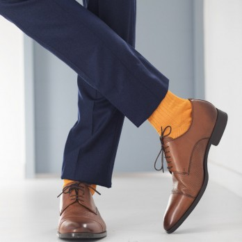 Mustard yellow cotton lisle socks