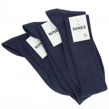 Pack of 3 night blue organic Giza cotton knee socks