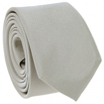 Light Grey Slim tie in Silk - Côme