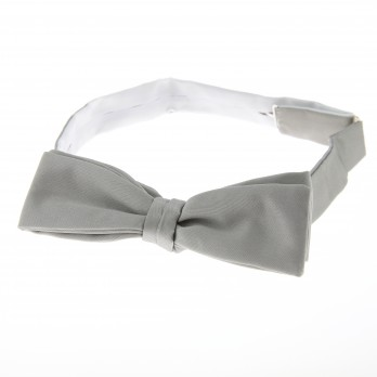 Pearl Grey Satin Bow Tie The Nines