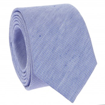 Blue Tie in Basket Weave Linen and Silk - Bergame