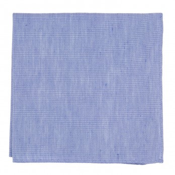 Blue Pocket Square in Basket Weave Linen and Silk - Bergame