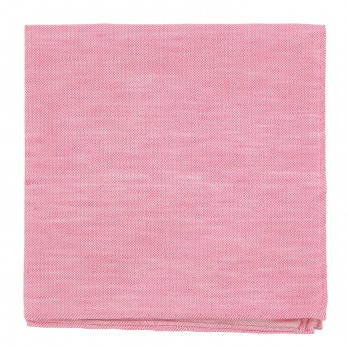 Pink Pocket Square in Basket Weave Linen and Silk - Bergame