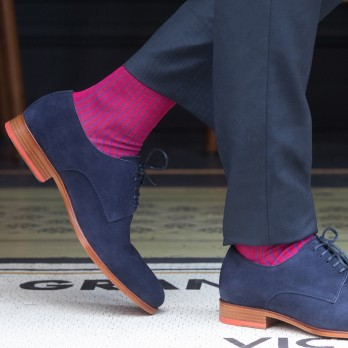 Lisle cotton fuchsia and blue socks