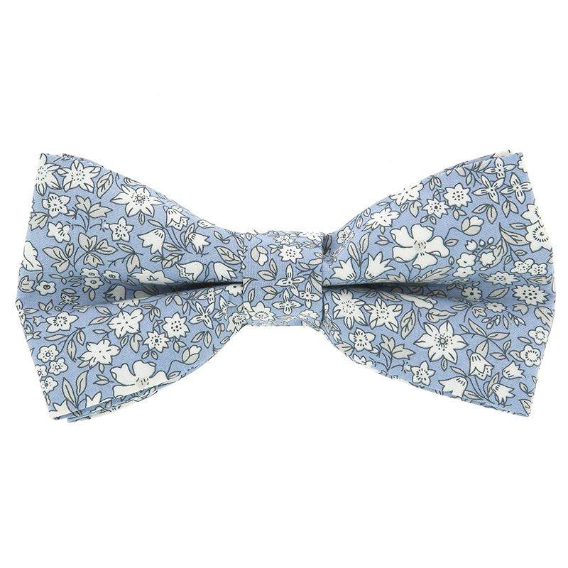 Light Blue Liberty Bow Tie with Flowers