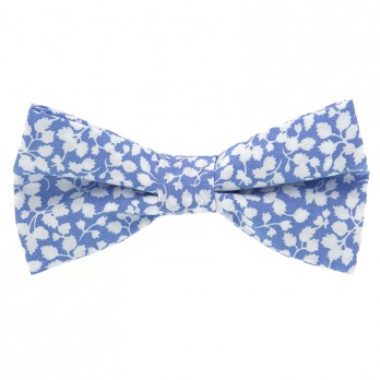 Light Blue Liberty Bow Tie with White Flowers