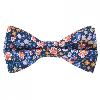 Navy Blue Liberty Bow Tie with Flowers