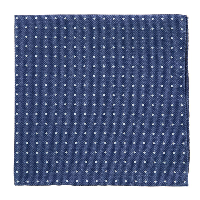 Navy Blue Pocket Square with White Dots in Printed Silk