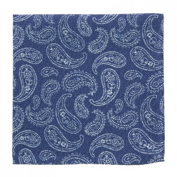 Navy Blue Pocket Square with White Paisley Pattern in Printed Silk