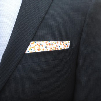 White Pocket Square with Confetti Pattern in Cotton