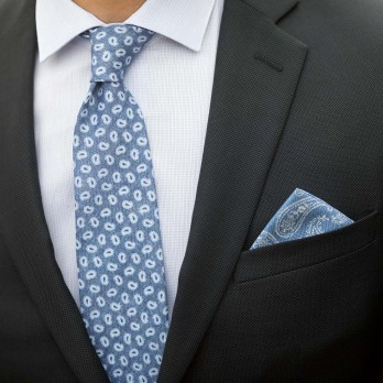 Light Blue Pocket Square with White Paisley Pattern in Printed Silk