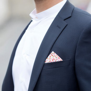 Pink Pocket Square with Confetti Pattern in Cotton