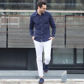 Dark blue Japanese collar shirt slim fit