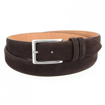Dark brown suede leather belt - Lino