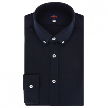 Navy blue button down collar cotton piqué shirt with american placket