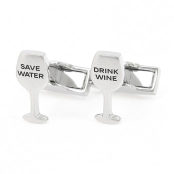 Boutons de manchette Drink Wine Save Water