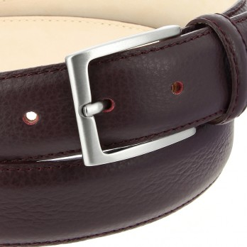 Full-Grain Leather Belt in Burgundy - Enzo