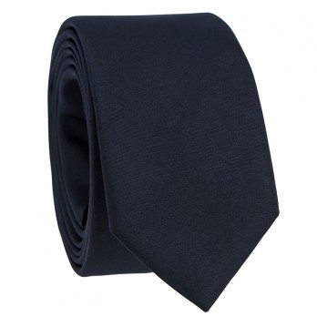 Navy Blue Slim Tie in Satin Silk - Monte Carlo