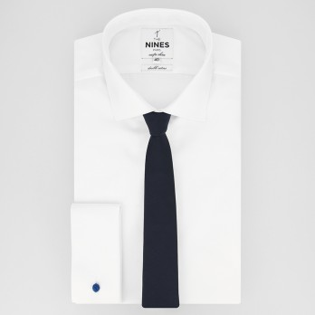 Navy Blue Slim Tie in Silk - Côme