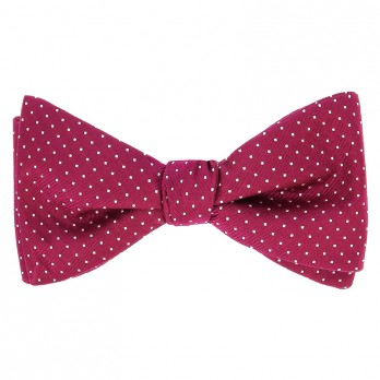 Raspberry Bow Tie with White Dots in Silk - Washington DC