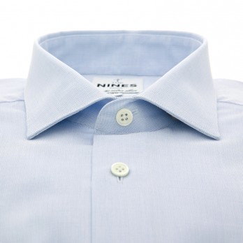 Light blue semi plain shark collar shirt
