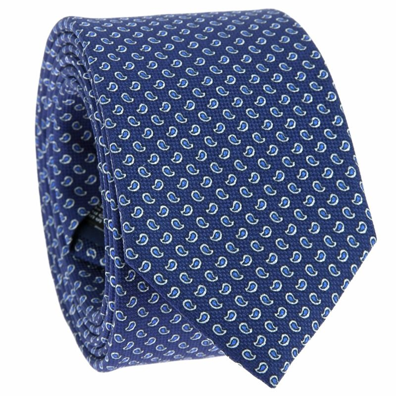 Blue Tie with Blue Paisley Pattern in Printed Silk