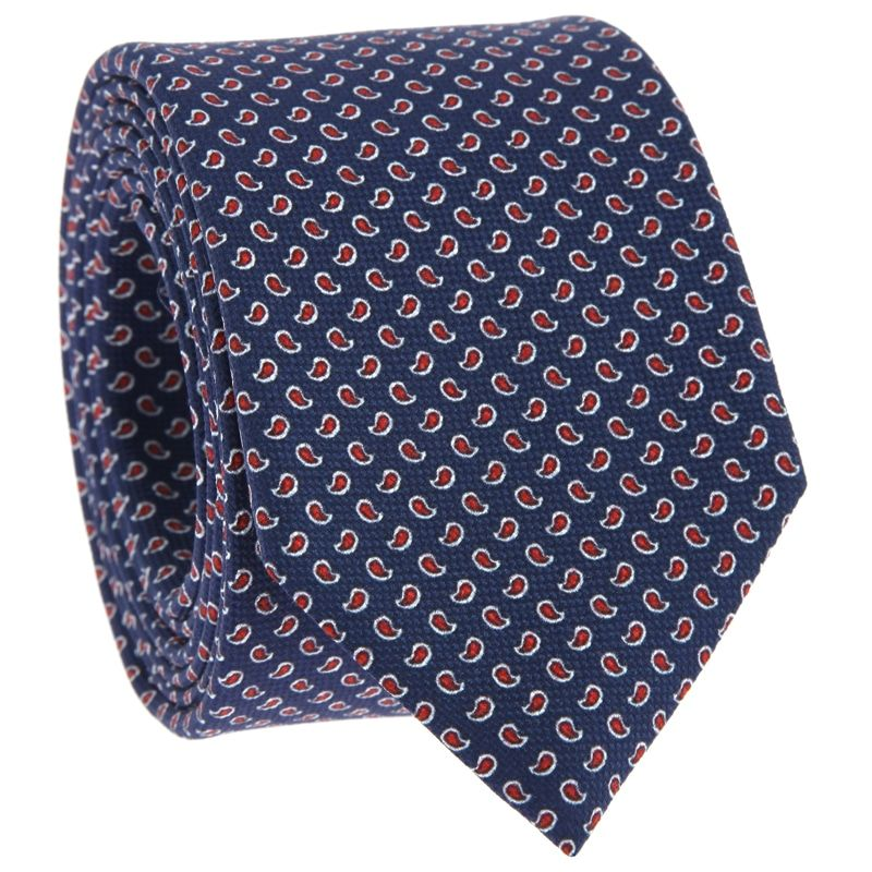 Navy Blue Tie with Red Paisley Pattern in Printed Silk