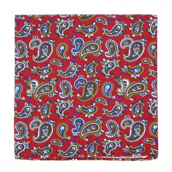 Red Pocket Square with Green Paisley Pattern in Printed Silk