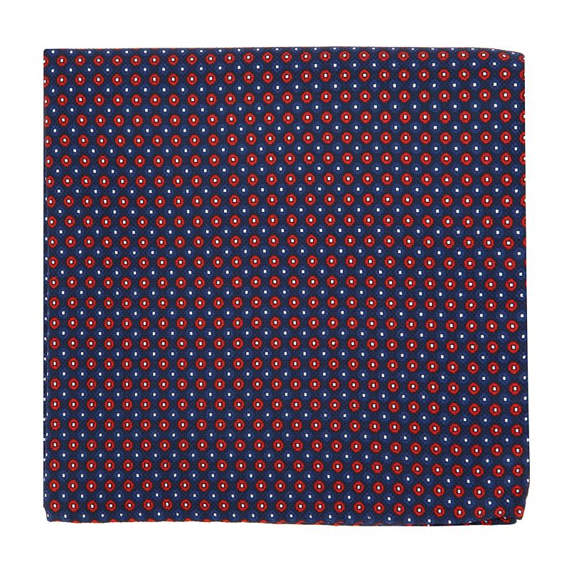Navy Blue Pocket Square with Red and Blue Dots in Printed Silk