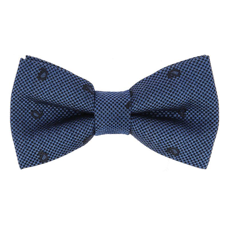 Blue Bow Tie with Navy Blue Paisley Pattern in Jaspe Silk